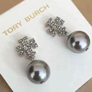 Tory Burch silver logo pearl drop earrings